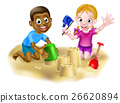 Cartoon Boy and Girl on Beach 26620894