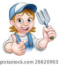 gardener, cartoon, woman 26620903