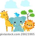 動物 長頸鹿 大象 26623965