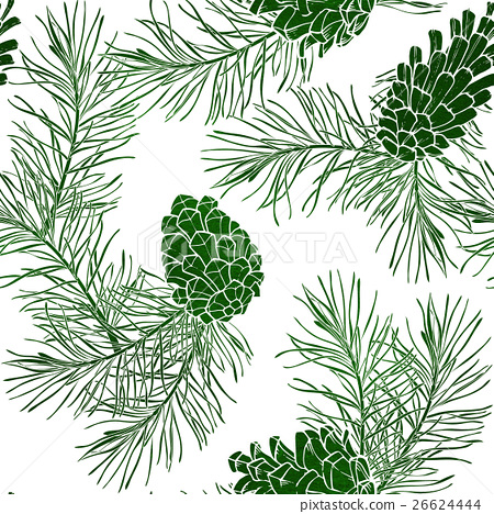 Hand-Drawn seamless pattern with pine cones 26624444