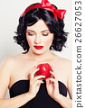 Cute Woman with Red Apple 26627053