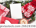 Christmas greeting card, tree, mittens  26628398