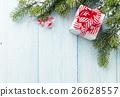 Christmas gift box and fir tree branch 26628557