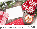 Christmas greeting card, tree, mittens  26628589