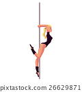 Young woman in black leotard standing at the pole 26629871