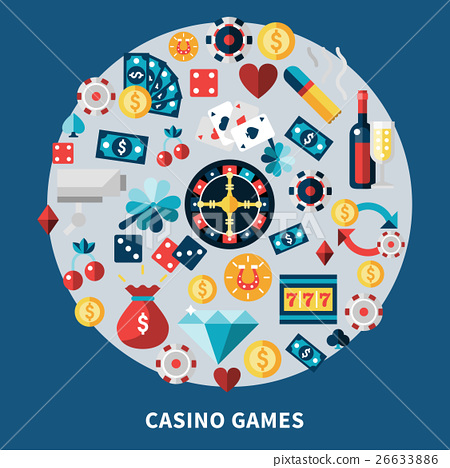 Casino Games Icons Round Composition 26633886