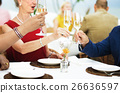 Mature Friends Fine Dining Outdoors Concept 26636597