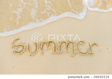 Summer text with white sandy beach and sea . 26640319