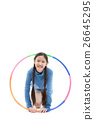 Portrait happy Asian child girl playing hulahoop 26645295