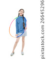 Portrait happy Asian child girl playing hulahoop 26645296