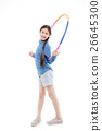 Portrait happy Asian child girl playing hulahoop 26645300