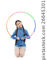 Portrait happy Asian child girl playing hulahoop 26645301