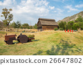 Livestock barn wooden with cart in farm 26647802