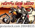 新年賀卡 賀年片 摩托車 26648035