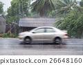 Car driving motion through gale rain 26648160