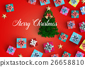 Merry Christmas and gift box on color background 26658810