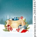 Holiday Christmas background with a gift boxes  26658997