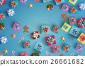 Merry Christmas and gift box on black background 26661682