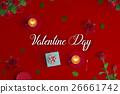 valentine card with coffee latte art in red   26661742