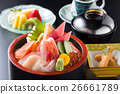 Pot of sushi with shrimp, tuna, salmon, fruit in J 26661789