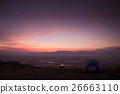 mountain dawn with tent, violet colors of sky  26663110