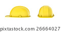 Rendering of two yellow construction helmets, side 26664027