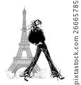 Fashion model by Eiffel tower 26665785