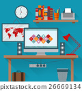 Vector illustration of office has a computer 26669134