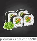 Vector sushi color sketch, Vegetable roll 26672288