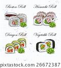 Vector sushi color sketch, set 26672387
