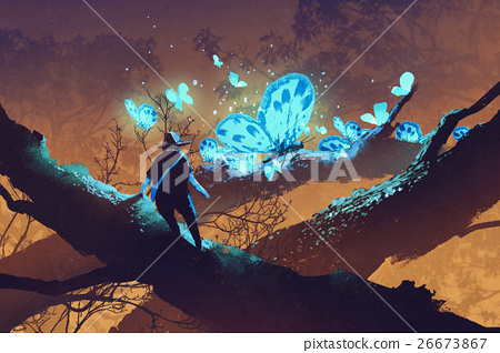 man looking at giant blue butterflies 26673867