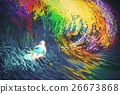 extreme surfer rides a colorful ocean wave 26673868