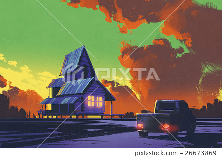 rural scenery with old pickup truck and old house 26673869