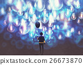 man with black balloon among a lot oflight bulbs 26673870
