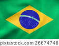Flag of Brazil waving, real fabric texture 26674748