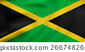 Flag of Jamaica waving, real fabric texture 26674826