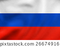 Flag of Russia waving, real fabric texture 26674916
