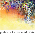 Abstract floral watercolor painting 26683044