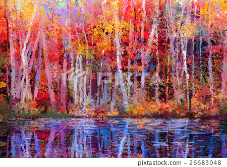 Oil painting landscape - colorful autumn trees 26683048
