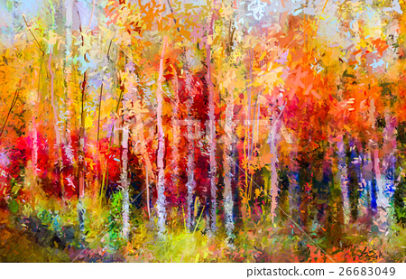Oil painting landscape - colorful autumn trees 26683049