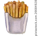 watercolor sketch French fries in the package 26684928
