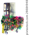 watercolor sketch of box with flowers on white  26684948