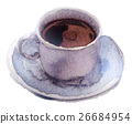 watercolor cup of tea on white background 26684954