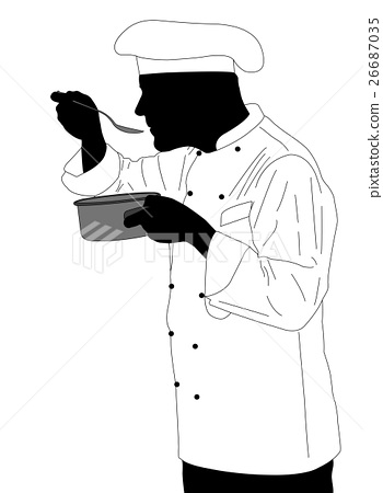kitchen chef tasting sauce illustration 26687035