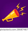 yellow retro megaphone 26687487