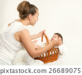 baby, mother, basket 26689075