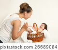 baby, mother, basket 26689084