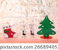 聖誕樹 聖誕襪 粉紅背景 26689405