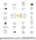 Valentine's day icon symbols.  26690991