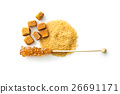 Brown amber sugar crystal on wooden stick. 26691171